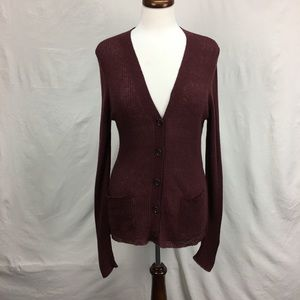 Ann Taylor Burgundy V Neck Button Cardigan